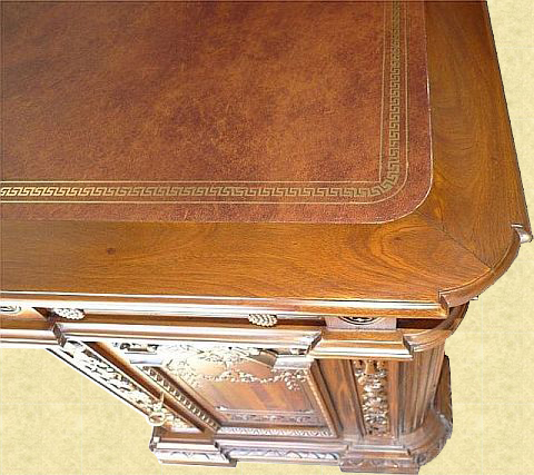 close-up of leather tooling on Resolute Desk Replica